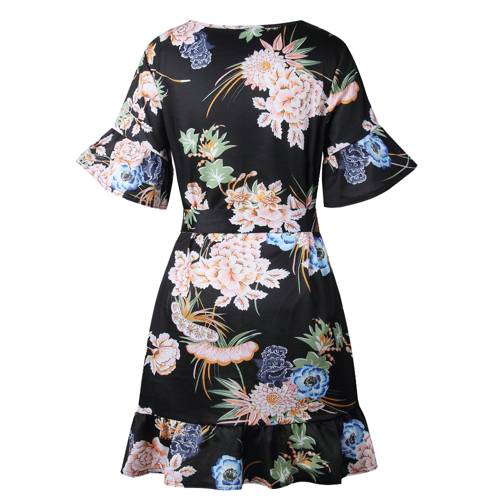 Lossky Summer Women Beach Dress 2018 Bohemian Floral Print Boho Dress O-Neck Short Sleeve Ruffle Mini Chiffon Dress With Belt 10