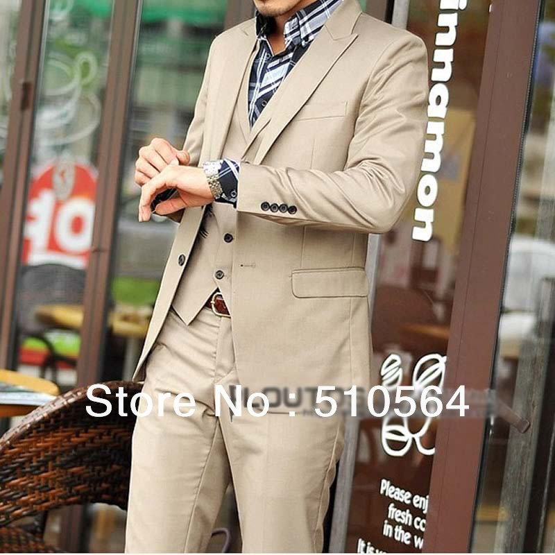 Custom made Men cotton suit(Jacket + pants +vest) formal wedding dress suit beige suit