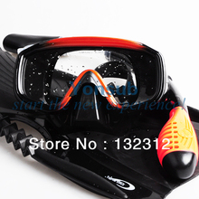 Scuba Gear Professional Durable Adult Diving Mask Snorkel Fins Sets Orange with black tempered glass