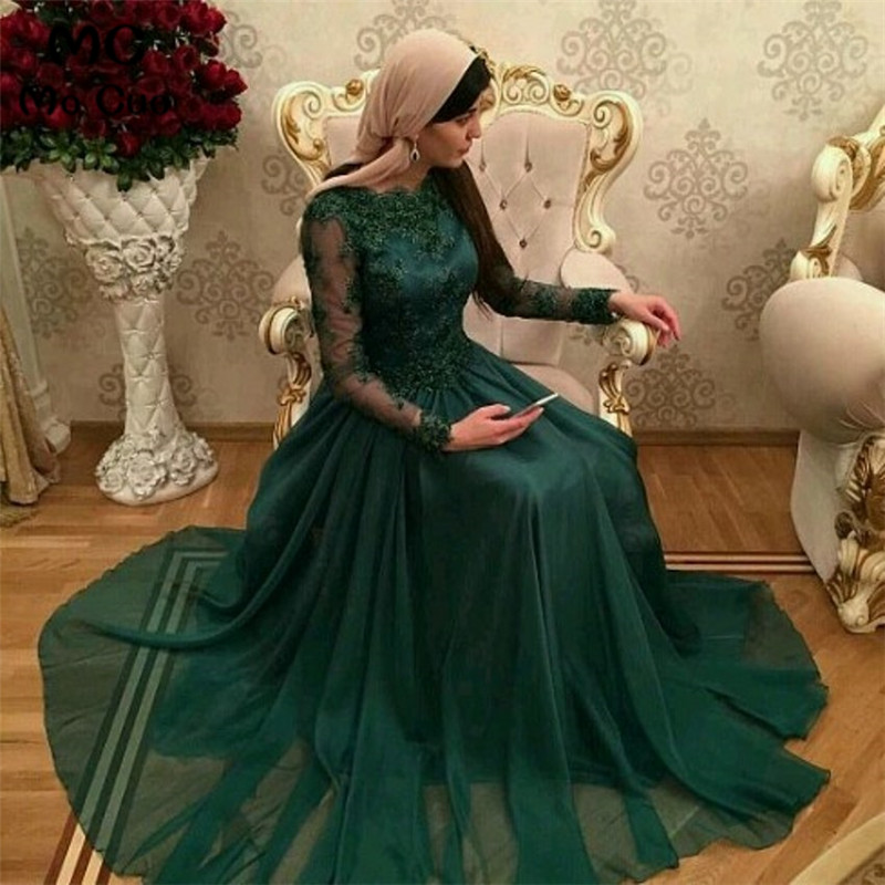Vestidos De festa 2018 Dubai Dark Green Muslim Evening Dresses with long sleeves lace appliques prom dresses A-Line formal gowns