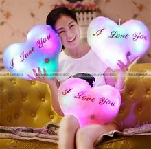 Romantic LED Light Up Glow Pillow Soft Cosy Relax Cushion Heart Valentine's Gift SMB 40815400(China)