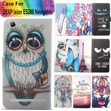 Fashion 11 Colors Cartoon Painting PU Leather Magnetic clasp Wallet Cover For DEXP Ixion ES260 Navigator Case(China)