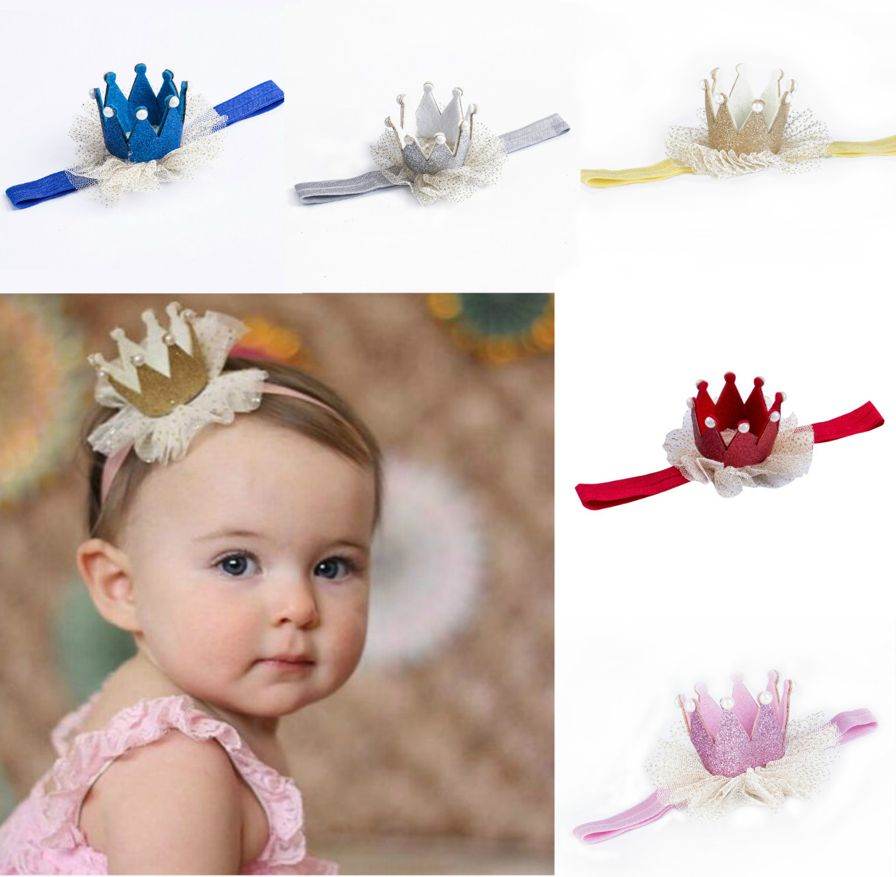 8Pcs Newborn Baby Girl Headband Headwear Elastic Hair Band Headdress Accessories