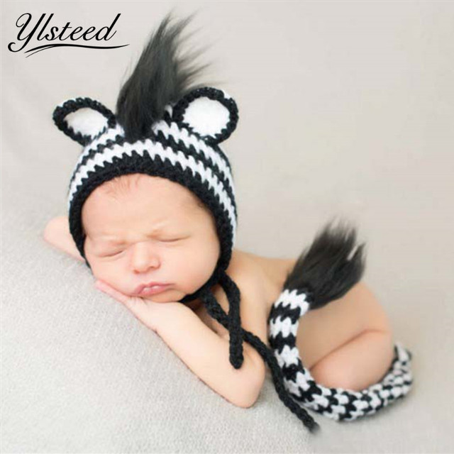 2017 Zebra Photo Props Newborn Baby Knitted Animal Hat With Tail Photography Cute Infant