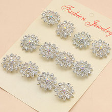 wholesale Fashion Jewelry silver color Flower Brooch women crystal Wedding brooches 12pcs/lot Free shipping