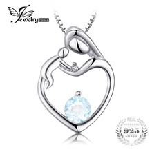 JewelryPalace Heart Mother Child 0.7ct Natural Aquamarine Diamond Accented Pendant 925 Sterling Silver Does Not Include a Chain(China)