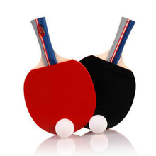 New 2 Pieces/Set Table Tennis Rackets Ping Pong Paddle Long/Short Handle Double Face Table Tennis Racket Set With Balls + Bag(China)