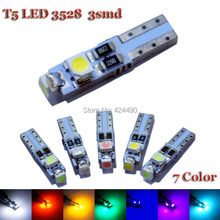 10pcs Car Auto LED T5 3 led smd 3528 Wedge LED Light Bulb Lamp 3SMD White Green Red Yellow pink crystal blue