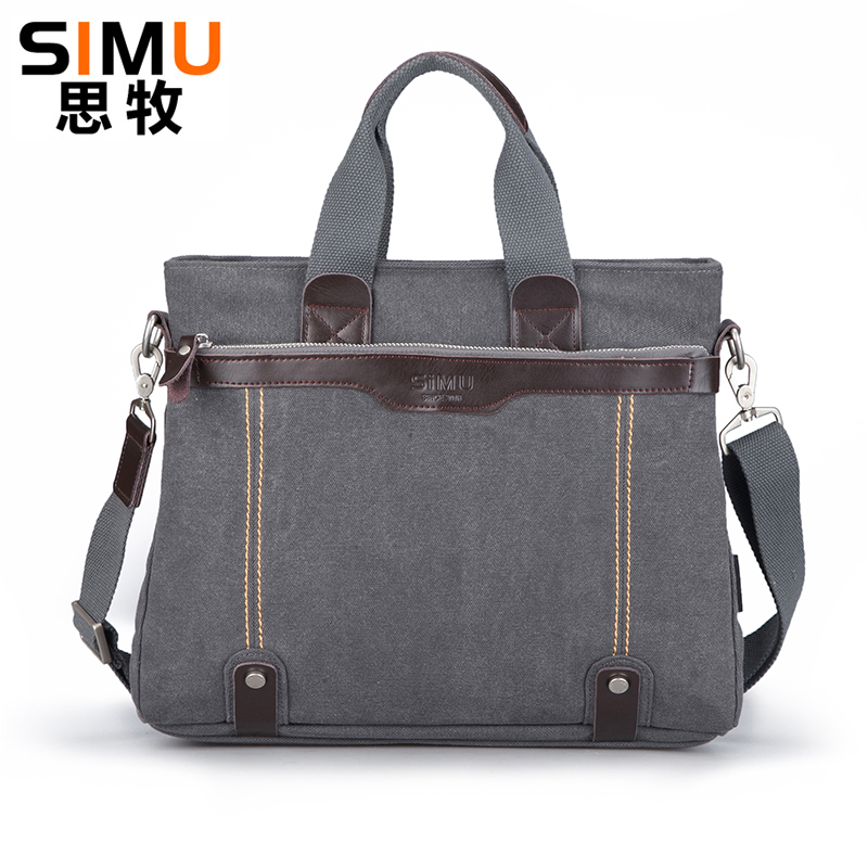 Vintage Mens Canvas Bags Men Office Bag with Laptop Compartment Casual Mens Handbag High Quality Male Shoulder Bag<br>