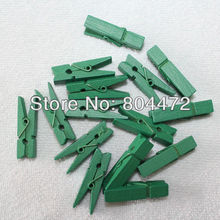 Green wooden mini pegs 3.5cm | wood clip/clamp/pins | mini wooden pegs | 35mm | wedding gift, 100 units Christmas Green Decor(China)