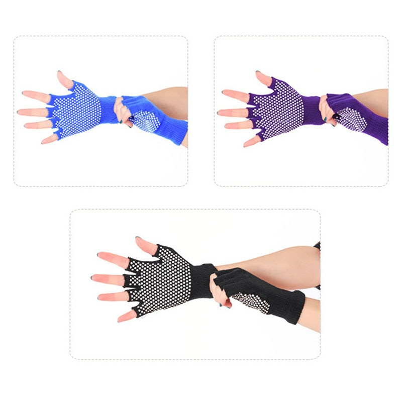 1Pair Anti Slip Fingerless Gloves Grip Sticky Brace Support Balance Warm Workout Fitness Exposed Gloves Unisex Relief Pain