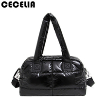 Cecelia Winter Space Bale Woman Cotton Totes Feather Down Shoulder Bag birthday gift Designer lady handbag(China)