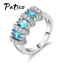 PATICO Retro Style Ring Vintage Pure 925 Sterling Silver with AAA Grade Cubic Zircon CZ Crystal Jewelry for Women Gift