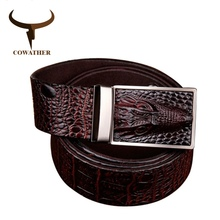 COWATHER 2016 good quality cow genuine leather belts for men alligator pattern automatic buckle mens belt original brand(China)