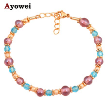 Modern design pendientes Bracelets for ladies Wholesale & Retail Gold tone Color Crystal Fashion jewelry TB822A(China)