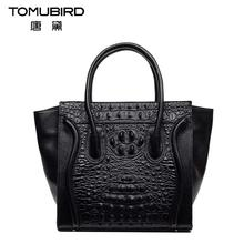 2016 New genuine leather women bag fashion alligator grain embossing  women handbags shoulder bag perfectly leather art bag