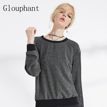 Glouphant New Fashion Bling Bling Slim Full Sleeve Black Pullover Hoodies Women Autumn Simple Funny Solid Sweatshirt Women 2017(China)