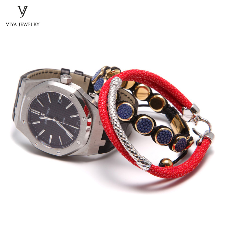 Handcrafted Luxury Custom Stingray Silver Bracelets Two hand-wrapped Stingray leather cords Men Bracelet With Pure Silver Clasp-VSST-03 (9)