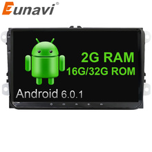 Eunavi 2 Din 9 inch Quad core Android 6.0 car radio GPS for VW Polo Jetta Tiguan passat b6 cc fabia mirror link wifi bt in dash