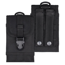 Black Universal Army Tactical Cell Phone Smartphone Waist Pouch Bag Case Cover 6.8*3.5*0.8 inch(China)