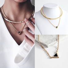 2017 Europe And The United States Fashion Unique Geometric Triangle Shaped Alloy Pendant Necklace Retro Women Jewelry Collar Gif(China)