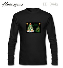 HOT SELL 2017 New Fashion Brand Christmas Clothes Long Sleeve wide-waisted EL T Shirt Men Cotton Flash Christmas T-Shirt(China)