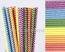 150pcs Rainbow Chevron Paper Straws Mix,Purple Blue Kelly Green Yellow Orange Red Zig Zag Colored Drinking Paper Straws Cheap