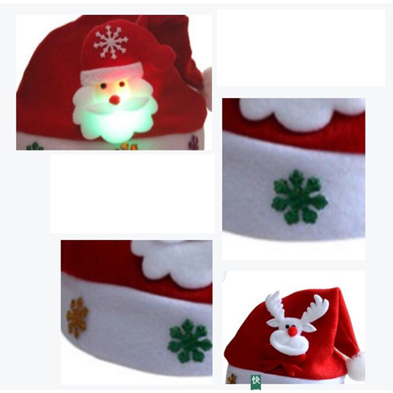Rave LED Christmas Hat Reindeer Snowman Santa Hat Decoration Xmas Gifts For Children Kids Adult Hats Christmas Party Props (3)