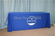 custom print 8ft table cover, table cloth, table throw for exhibition