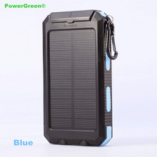 Buy PowerGreen Solar Battery Charger, External Phone Power Bank, 10000mAh Water-Resist Mini Solar Panel Compass Carabiner for $26.51 in AliExpress store