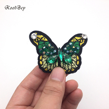 2pcs/lot Cartoon Animal Small Insect Butterfly Sew on Embroidery Patch for Clothes Bead Diamond Appliques DIY Apparel SC3413