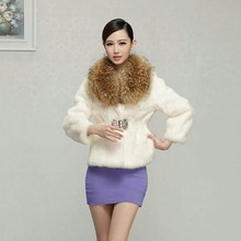Supper large natural raccoon dog fur collar diamond stone slim short women's full pelt rabbit fur coat outerwear women jacket