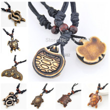 Men Women's Fashion Jewelry Imitation Yak Bone Carving Tirbal Hawaii Surfer Turtles Necklace Charm Pendant Choker Gift