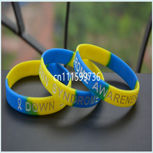 Down Syndrome Awareness Wristband, silicon bracelet, filled in colour wristband, 100pcs/lot, free shipping(China)