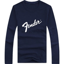 Free shipping New fashion Guitar brand fender printing logo t shirt 100% cotton O-Neck Long Sleeve T-shirt High quality tshirt(China)