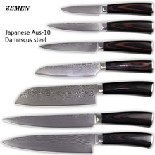 XYJ brand damascus pattern chef slicing santoku utility paring cooking knife AUS-10 Damascus steel kitchen knives set best gifts