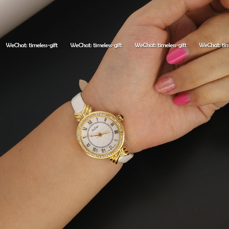 Top Julius Lady Woman Wrist Watch Elegant Rhinestone Fashion Hours Korea Dress Bracelet Patent Leather School Girl Gift JA-413<br><br>Aliexpress