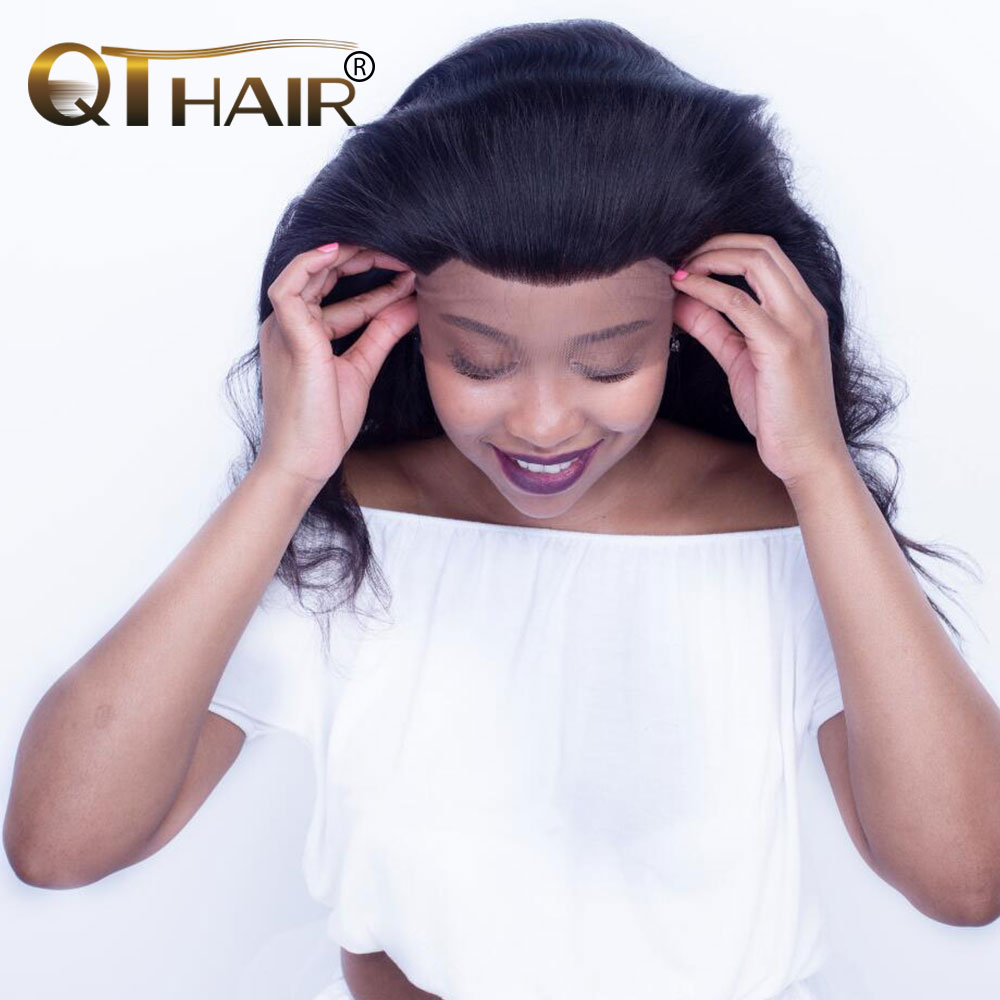 QThair Straight 360 Lace Frontal With Baby Hair 100% Brazilian Remy Human Hair Natural Black 12-22 inches Can Match Bundles