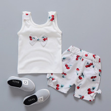 new children's suit girl sleeveless cotton cherry print + female baby shorts clothes children's summer section two sets