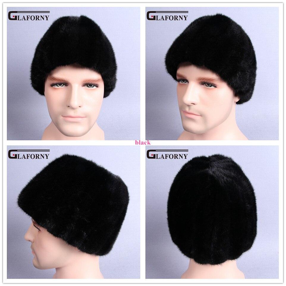 Glaforny 2017 New Design Real Whole Men Mink Fur Hat Russian-Style Winter Warm Fur Hat Luxury Super Warm Fur Genuine Mink Cap