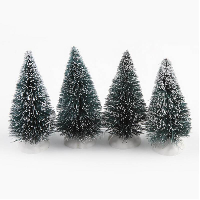 1pc Mini Christmas Tree Artificial Christmas Mini Cedar Ornament Festival Table Miniature Ornament Snow Tree Frost Village House