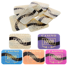 Hot Sale 10pcs MagiDeal 5000 Value Hold'em Playing Mahjong Texas Poker Games Rectangle Crystal Acrylic Poker Chips for Casino