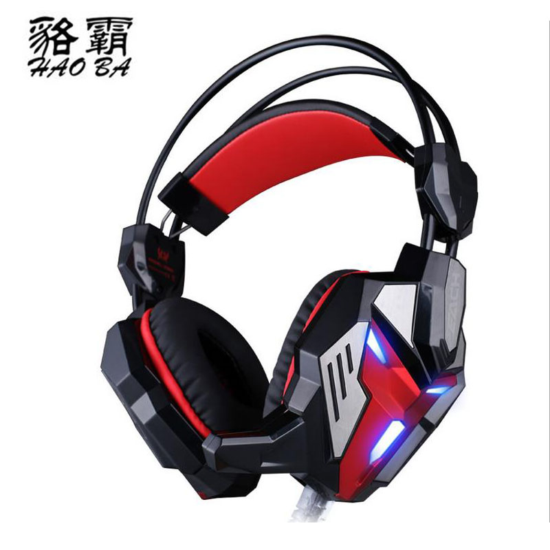HAOBA 3.5mm Internet cafes headphones Glowing vibration wired game headset for PC computer<br>