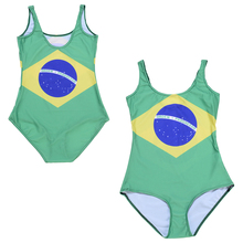 BRASIL LOGO One Piece Swimsuit Female Swimwear Brazilian Flag Women Bathing Suit Flag Of Brazil Swim Wear Green Yellow Blue
