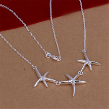 New Listing Hot selling  silver plated  women lady beautiful starfish necklace Fashion trends Jewelry Gifts