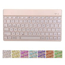 For iPad Pro 12.9 2017 Premium Portable Slim Rechargeable 7 Colors LED Backlit Backlight Aluminum Wireless Bluetooth Keyboard