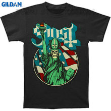 Gildan Tee4U T Shirts Short Ghost B.C Statue Of Papa Liberty Art With American Flag Background Blue Outline