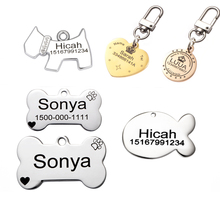 Bone Round Heart  Pet Accessories  Engraved text on two sides stainless steel pet dog tag customized dog id tag name telephone