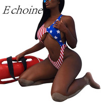 Echoine Women Sexy Cut Out Thong One Piece Swimsuit USA Flag Print Backless High Cut Halter Push Up Bikini Swimwear Bathing Suit