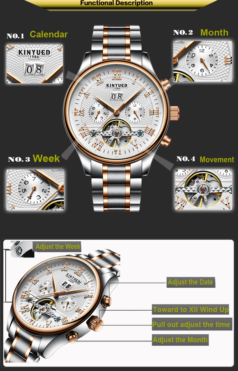 KINYUED Men's Self-Wind Tourbillon Mechanical Watches Water Resistant Automatic Skeleton Watch Men Relojes Hombre 2018 Dropship 5